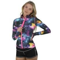 tutublue Women's Front Zip Rash Guard Top UPF50+ Long Sleeve Sun Protection Swimwear