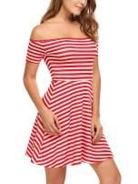 Zeagoo Women's Off Shoulder Mini Dress Causal Party Short Dress