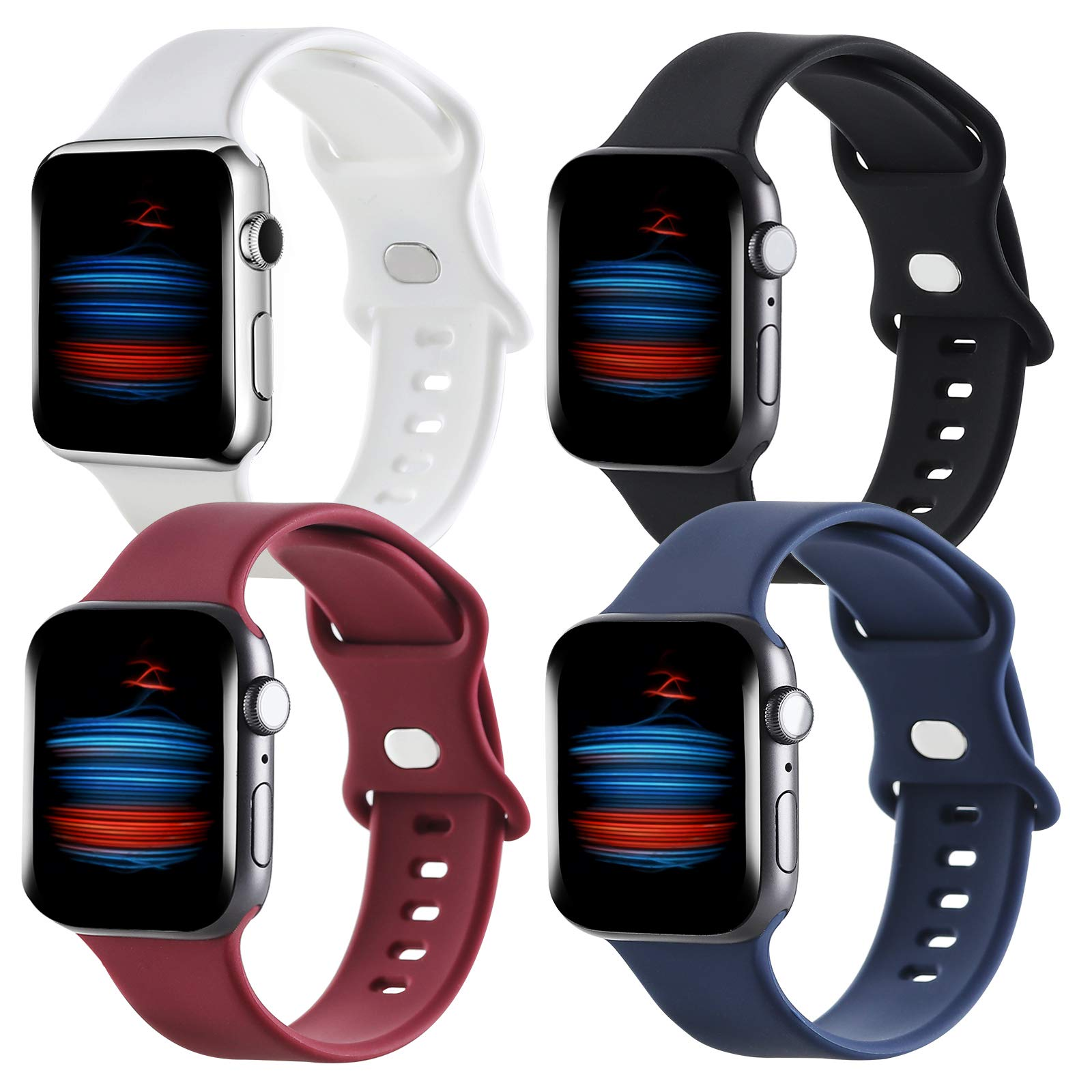Gleiven 4 Pack Compatible with Apple Watch Band 38mm 40mm,Sport Silicone Soft Replacement Band Compatible for Apple Watch Series 6/5/4/3/2/1 (Black/Navy Blue/White/Wine Red, 38mm(40mm))