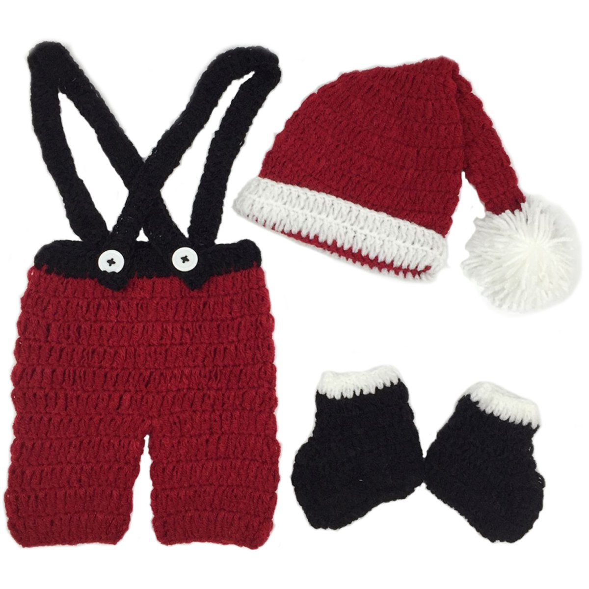 Jastore Infant Newborn Costume Photography Prop Santa Claus Knitted Outfit