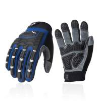 Vgo Men's Deer Split Leather Work Gloves with Palm Padding, Touchscreen Compatible, Velcro Closure (Size M, Blue, DB9704)