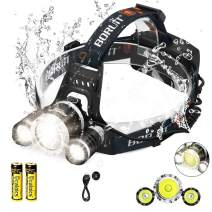 C CALOICS LED Headlamp, Brightest and Best 6000 Lumens T6 Waterproof Headlight Headlamps with Rechargeable 18650 Batteries Hands-Free Flashlight for Night Fishing Running Hunting Reading Camping