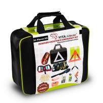 YITAMOTOR Car Emergency Kit Roadside Toolkit with 10ft Jumper Cables, Reflective Warning Triangle, Bungee Cords, Safety Vest, Folding Shovels, Function Multi-Tool, Cleansing Wipes, ect, 91 Pack