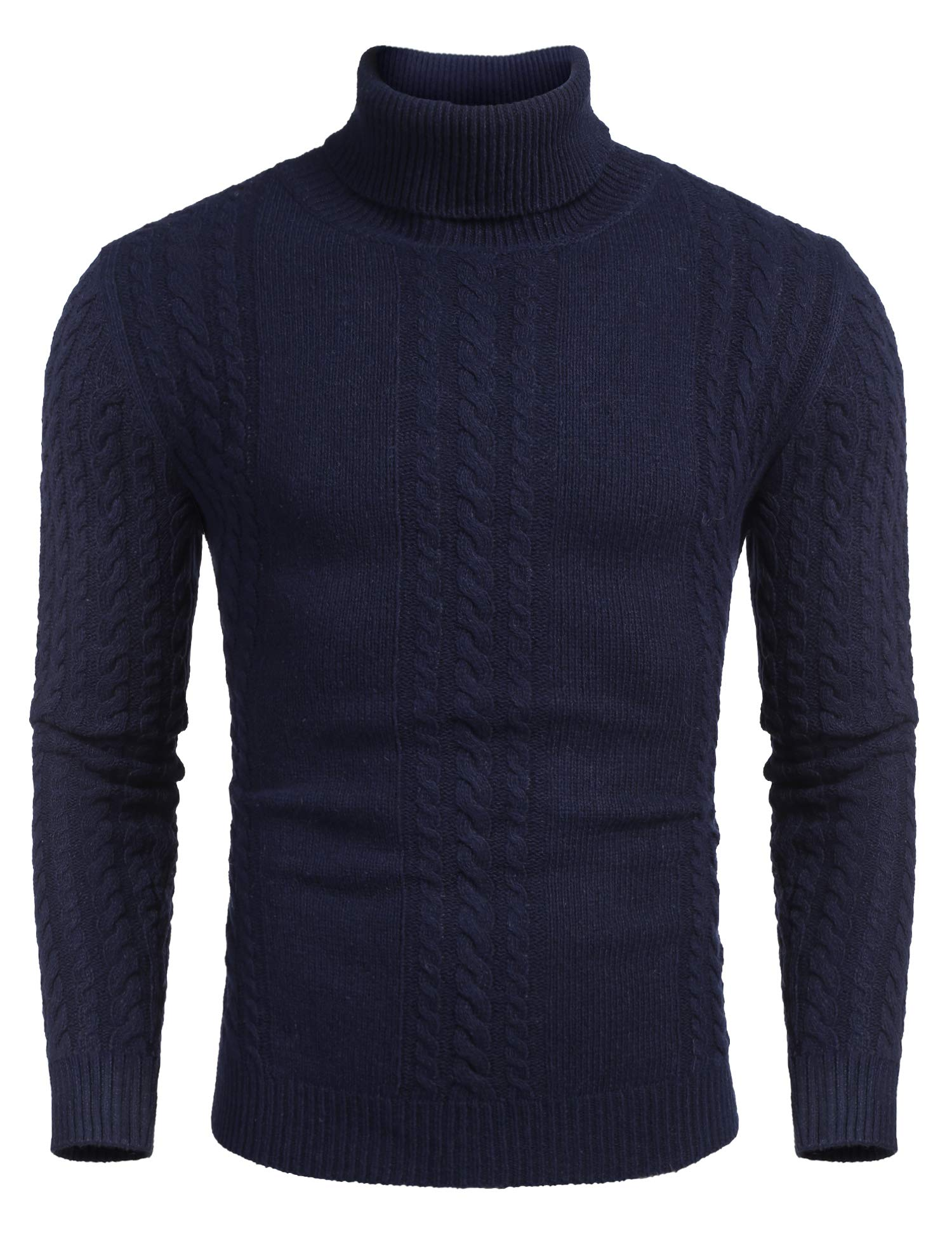 COOFANDY Men's Casual Slim Fit Turtleneck Sweaters Long Sleeve Knitted Twisted Pullover Sweater
