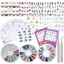42 Sheet Flower Nail Art Stickers Decals Water Slide Sticker Decal 3 Boxes Acrylic Nail Rhinestones Decorations Fingernail Accessories