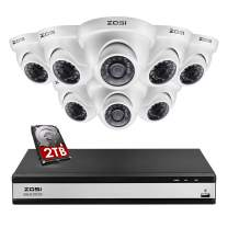 ZOSI 16 Channel Security Camera System Dome, 1080N/720P Hybrid 16 Channel DVR with Hard Drive 2TB and 8 x 720p Surveillance Dome Camera Outdoor Indoor, 80ft Night Vision, 90° View Angle, Remote Access