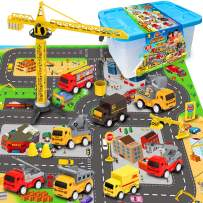"""Mini Fire Fighting Truck Transport Delivery Truck Construction Vehicle Play Set with a Kid Play Car City Map (28"""" x 31""""), Engineering Vehicle Toy Play Cars for Kids, Boys or Girls"""