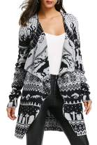 Viottiset Women's Ugly Christmas Shawl Collar Oversized Knitted Cardigan Sweater Coat
