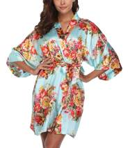 VOGTORY Womens Floral Satin Robes for Bridesmaid and Bride Short Kimono Robes for Wedding Party with Two Side Pockets