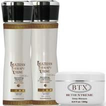 Keratin Cure BTX Brazilian Therapy Xtreme 3 Piece Repair & Care for Hair Sulfate Free Shampoo, Conditioner & Deep Masque Soft Repair Moisturize Argan, Aloe, Shea botanicals 160ml / 250gr