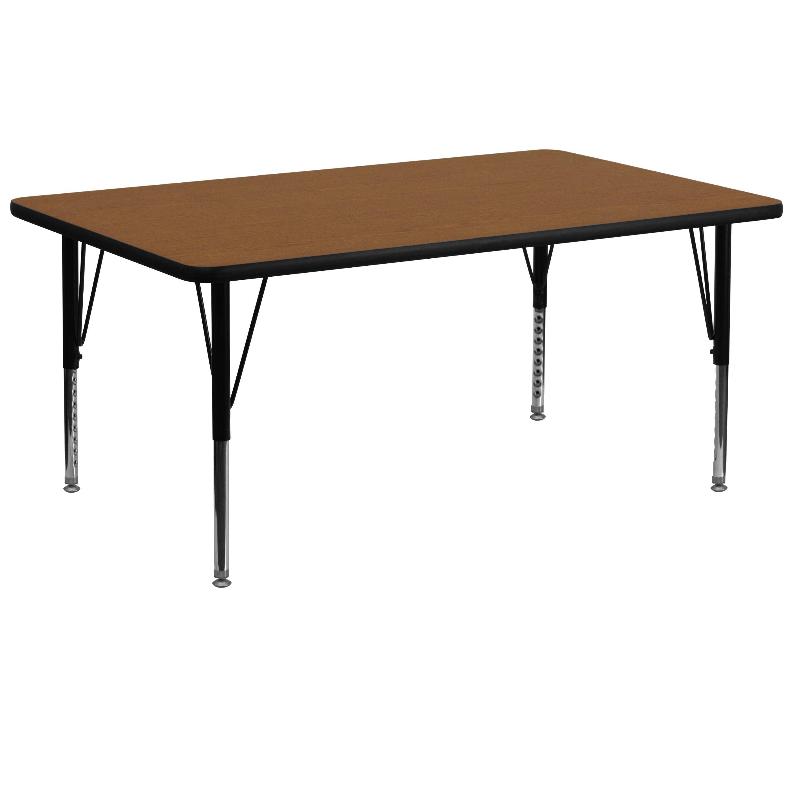 Flash Furniture 30''W x 72''L Rectangular Oak HP Laminate Activity Table - Height Adjustable Short Legs