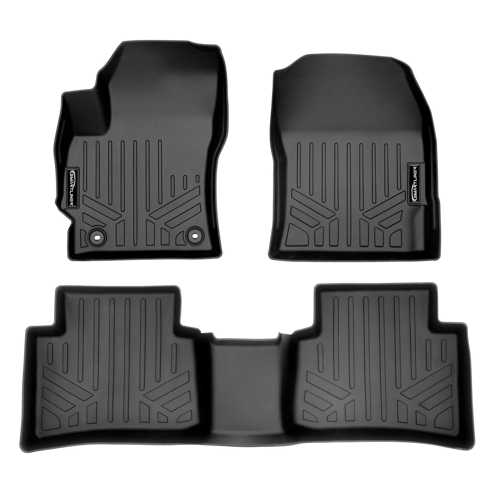 SMARTLINER Custom Fit Floor Mats 2 Row Liner Set Black for 2020 Toyota Corolla Sedan