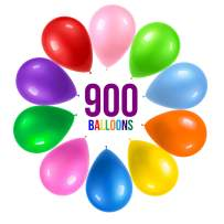 Prextex 900 Party Balloons 12 Inch 10 Assorted Rainbow Colors - Bulk Pack of Strong Latex Balloons for Party Decorations, Birthday Parties Supplies or Arch Decor - Helium Quality