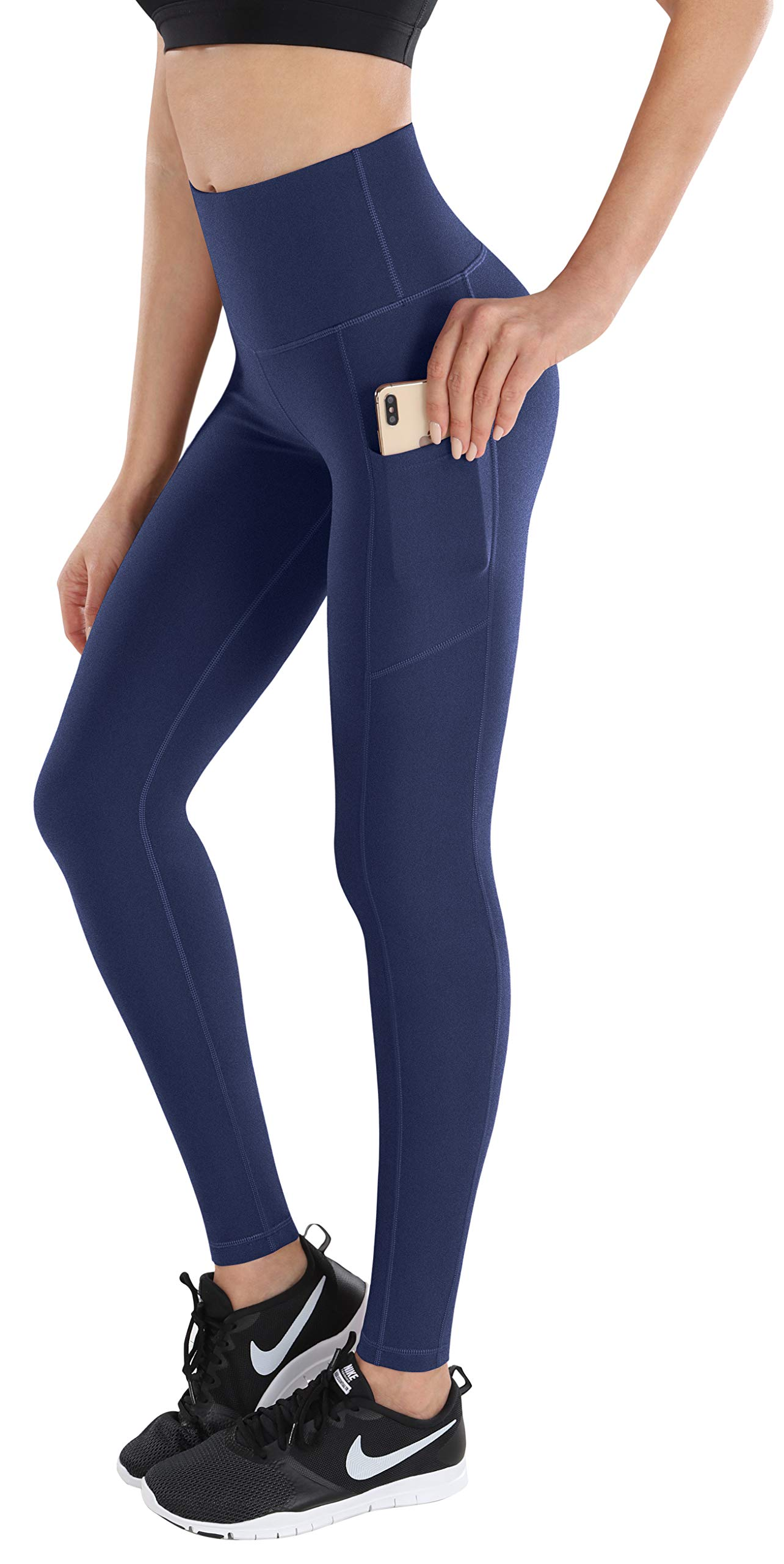 ESPIDOO Yoga Pants with Pockets for Women, High Waist Tummy Control, 4 Way Stretch Workout Leggings