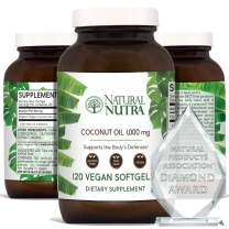Natural Nutra Organic Non-GMO Virgin Coconut Oil Capsules with Lauric Acid and Monolaurin, Medium Chain Triglycerides (MCT) Supplement for Hair Growth, Weight Loss, Energy, 1000 mg, 120 Vegan Softgels
