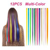 BeautySum Synthetic Clip in Hair Extensions Rainbow Colorful Clip on Hair Pieces for Women Long Straight Heat Resistant Multi-Colors 22 Inches 12 Pieces Highlight Hair Streak