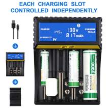 FPVERA 4+3 Slots Universal Rechargeable Charger LCD Display Smart Battery Charger for Ni-MH Ni-Cd AA AAA AAAA C9V(6F22) Li-ion18 650 16340(CR123A) and All Kinds of Cylindrical Rechargeable Battery