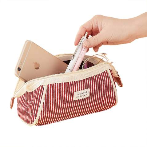Oyachic Stripe Pencil Case Large Capacity Pencil Bag Trapezoid Shape Pencil Bag Cute Pens Bag Zipper Stationery Organizer Box Cosmetic Bag for School Office (Red)
