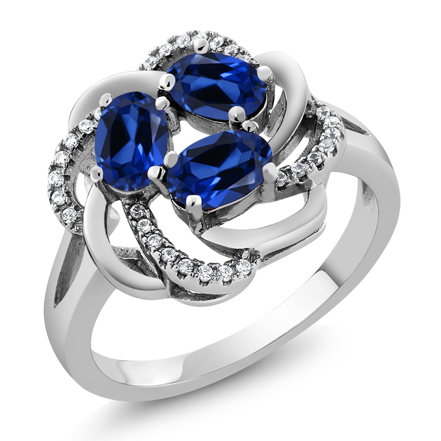 Gem Stone King 925 Sterling Silver Blue Created Sapphire 3-Stone Women's Ring 1.87 Ctw Oval (Available 5,6,7,8,9)