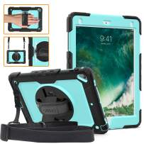 DUNNO iPad 9.7 2017/2018 case - Heavy Duty Protective Case with 360° Rotating Kickstand & Built-in Screen Protector Shockproof Design for Apple iPad 9.7 inch 2017/2018 (5th/6th Gen) Black/Sky Blue