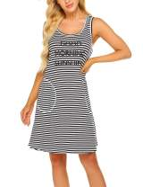 Ekouaer Sleepwear Womens Nightgowns Striped Night Shirts Sleeveless Sleep Dress S-XXL