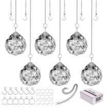 """MerryNine Clear Crystal Ball Prism Suncatcher Rainbow Pendants Maker, Hanging Crystals Prisms for Windows, for Feng Shui, for Gift(40mm/1.57"""" 6pack)"""