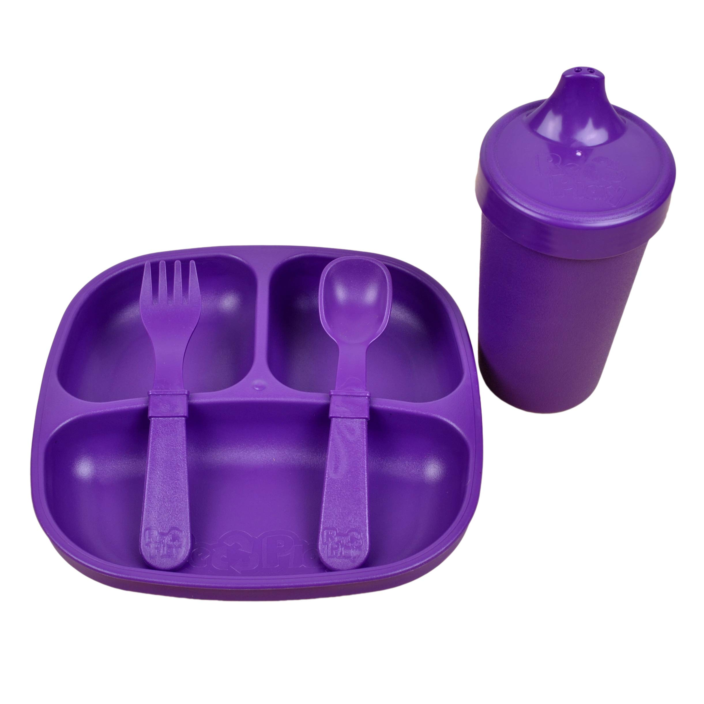 Re-Play Made in The USA Toddler Diner Set | Divided Plate, No Spill Sippy Cup, Utensil Set | Eco Friendly Heavyweight Recycled Milk Jugs - Virtually Indestructible | Amethyst
