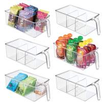 mDesign Plastic Kitchen Pantry Cabinet Refrigerator Food Storage Organizer Bin Holder with Handle - for Organizing Individual Packets, Snacks Food, Produce, Pasta - Medium, 6 Pack - Clear