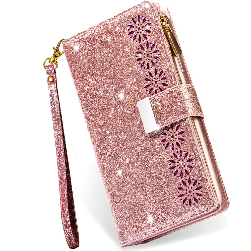Galaxy S21 5G Case Wallet with Card Holder,Kudex Bling Sparkle Glitter Folio PU Leather Flip Magnetic Kickstand Zipper Purse Case with 9 Card Slot & Wrist Strap for Samsung Galaxy S21 6.2''(Rose Gold)
