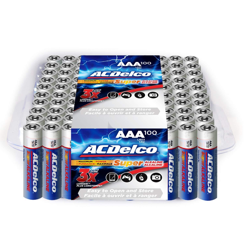 ACDelco AAA Batteries, Alkaline Battery, Bulk Pack, 100 Count
