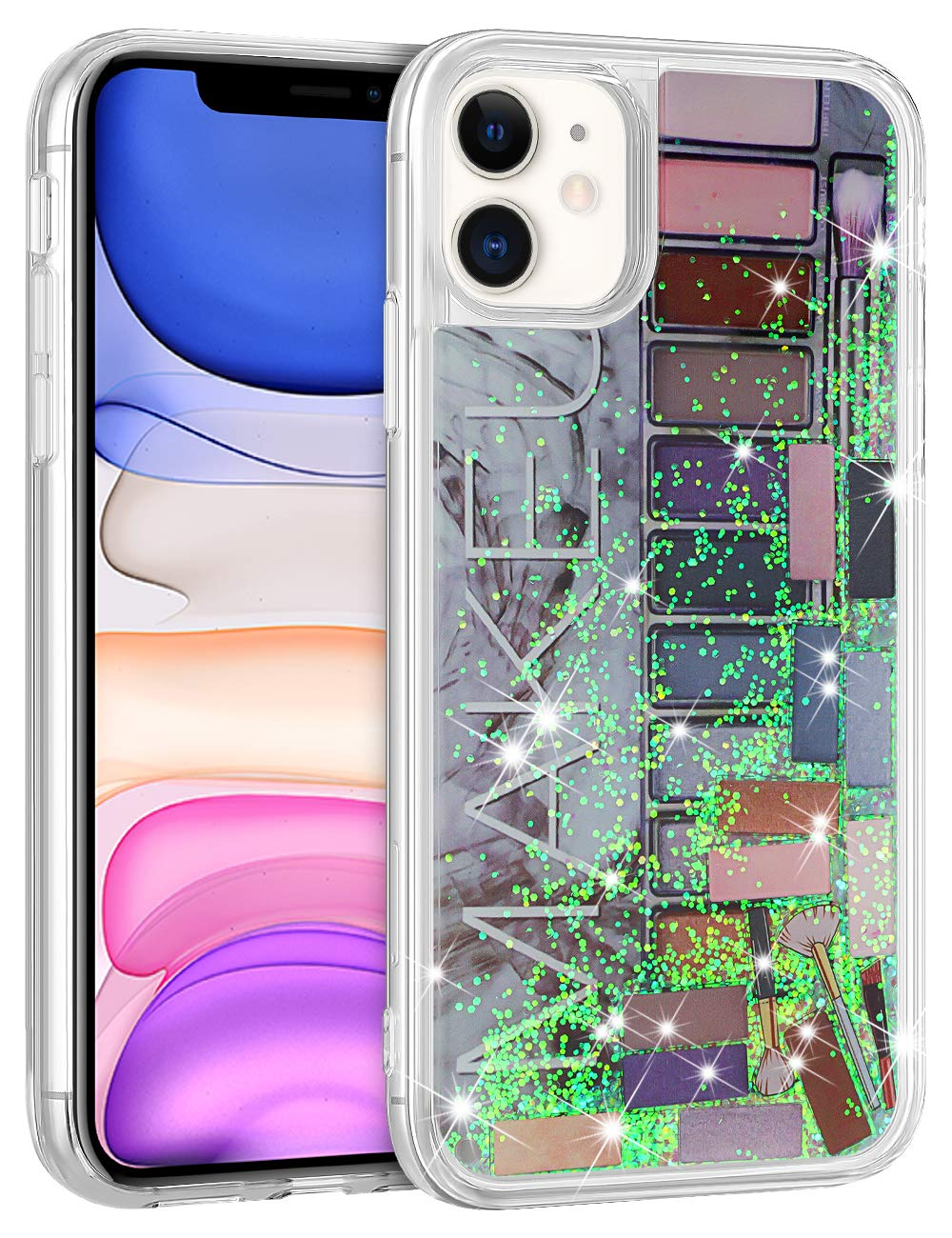 Wollony for iPhone 11 Case for Women Girls Cute Pink Eye Shadow Jigsaw Puzzle Makeup Bling Glitter Liquid Heavy Duty Shockproof Protective Cover Soft TPU Bumper Hard Back for iPhone 11 6.1inch Grey