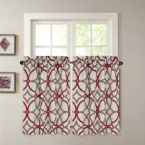 """H.VERSAILTEX Blackout Kitchen Curtains Energy Saving Ultra Soft Kitchen Half Window Curtains, Rod Pocket Window Curtain Tiers for Café, Laundry, Bedroom, Sold 2 Panels (Each 29"""" x 45"""", Taupe/Red)"""