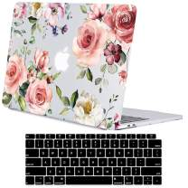 Lapac MacBook Air 13 Inch Clear Case 2019 2018 Release A1932, Soft Touch Hard Shell Case & Retina Display Fits Touch ID with Keyboard Cover (Water Rose Flower(A1932))