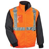 Ergodyne GloWear 8287 High Visibility Reflective Convertible Thermal Vest/Jacket, Large, Orange