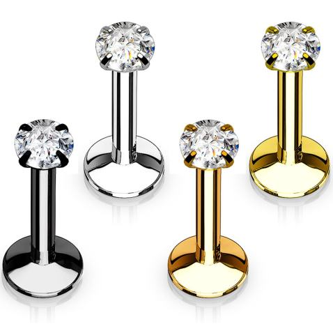 16G 3mm Cubic Zirconia Labret Monroe Lip Ring\Tragus\Helix Earring\Round Surgical Steel