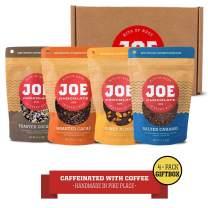 Joe Chocolates Gift Box Caffeinated Dark Chocolate (Salted Caramel, Midnight Coconut, Honey Almond, Holy Cacao) (Gift Box 4-Pack)