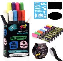 Vaci Chalkboard Markers – Set of 8 Erasable Chalk Markers with Holidays Drawing Stencils, 16 Chalk Labels and Chalkboard Tape - Liquid Chalk Markers for Chalkboard Signs – Neon Chalk Pens