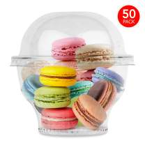 Clear Plastic Cups with Lids (50 Count) Dessert Cups with Lids - Ice Cream Cups - Plastic Fruit Cups - Mini Snack Bowls and Dome Lids without Hole, 8 Ounce