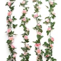 Yebazy Jinway 4PCS(32FT) Fake Rose Vine Garland Artificial Flowers Plants for Hotel Wedding Home Party Garden Craft Art Decor Pink