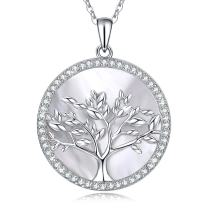 MEGACHIC Women Tree of Life Sterling Silver Mother of Pearl Pendant Necklace Crystals from Swarovski