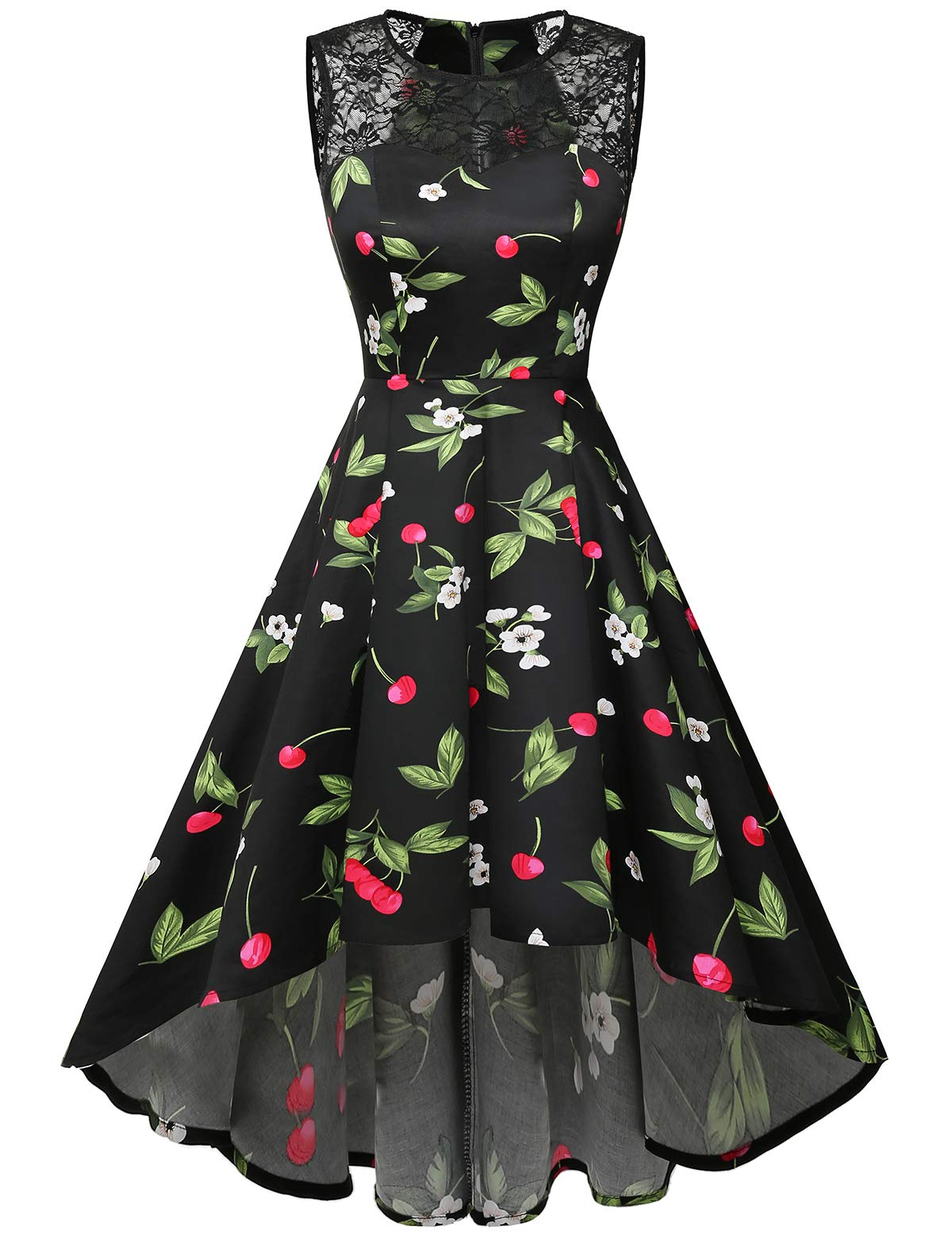 Homrain Women's Vintage Elegant Lace Sleeveless Hi-Lo Cocktail Prom Party Swing Dress