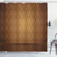 """Ambesonne Tan Shower Curtain, Antique Motifs with Damask Flowers Victorian Elements Royal Aged Vintage Art, Cloth Fabric Bathroom Decor Set with Hooks, 75"""" Long, Brown Tan"""