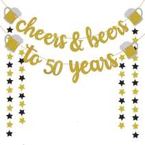 50th Birthday Decorations for Men/Women - 50th Birthday Gifts - Cheers & Beers to 50 Years Gold Glitter Banner - 50th Anniversary Decorations for Party, 50th Wedding Party Supplies for Couple