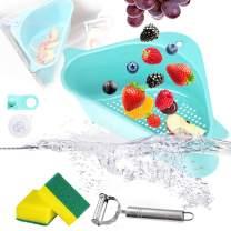 Sink Strainers Basket Kitchen Drain Shelf Triangular Sink Storage Holder with Suction Cup for Support Corner (Blue)