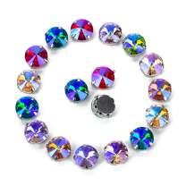 Choupee Rivoli Sew on Rhinestone 48pcs -Round Rhinestones Sew on in Metal Prong Setting for Dresses, Clothes, Bags, Shoes