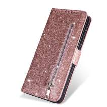 "ZCDAYE Wallet Case for iPhone 11 Pro,Bling Glitter Sparkly Zipper PU Leather Magnetic Flip Folio Card Pockets Holder with Wrist Strap Stand Protective Case Cover foriPhone 11 Pro 5.8"" - Rose Gold"