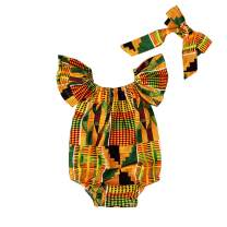 YOUNGER TREE 2pcs Toddler Kids African Baby Girls Clothes Romper Dashiki Style Summer Dress Bodysuit Outfit Shorts Set