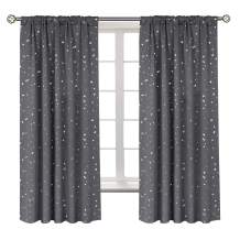 BGment Star Blackout Curtains for Kids Bedroom - Rod Pocket Thermal Insulated Room Darkening Printed Curtains for Living Room, Set of 2 Panels ( 42 x 63 Inch, Dark Grey )