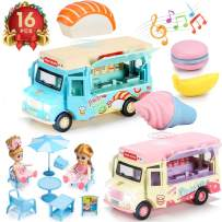 Geyiie 2 Pack Pull Back Car, Ice Cream Truck with Toddlers, Educational Stem Alloy Dining Magnetic Induction Pretend Play Truck Toys with Music and Lights, Great Gifts for Boys and Girls