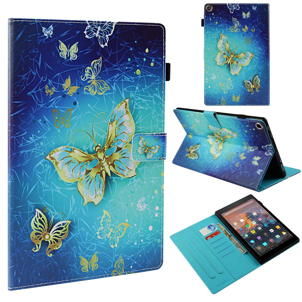 TiKeDa Amazon Kindle Fire HD 10 Tablet Case (9th/7th Generation,2019/2017 Released) PU Leather with Auto Wake/Sleep Function Multi-Angle Viewing Folio Stand Cover for Fire 10 Tablet (Gold Butterfly)